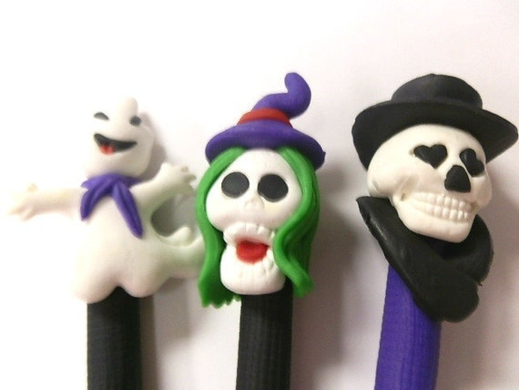 New 3 Cute Polymer Fimo Clay Halloween Ghost Skull Witch Pen