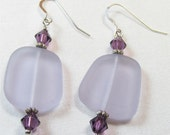Handmade beadwork earrings. Glass, Crystal and Silver, Light Lavender  matte glass Swarovski amethyst Crystal