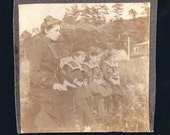 What Are They Waiting For - Poignancy on the Beach at Hadlow    Vintage sepia photo circa 1912