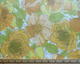 1970s Mod Gold and Green Floral Fabric Piece