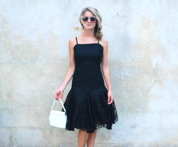 60's black lace cocktail dress - Ceil Chapman for Miss Winston 1960s evening dress - medium