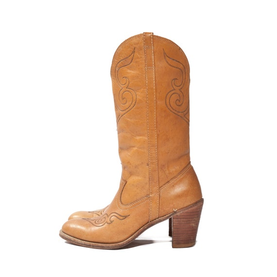 RESERVED for Kristin // Butterscotch Western Boots Stacked Heel Cowgirl by Acme Dingo size 7