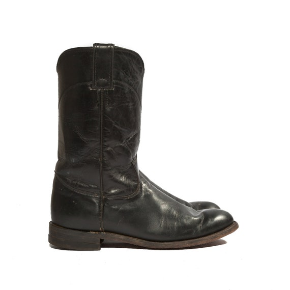 Women's Black Roper Cowboy Boots by Justin for a Size 7 1/2 B