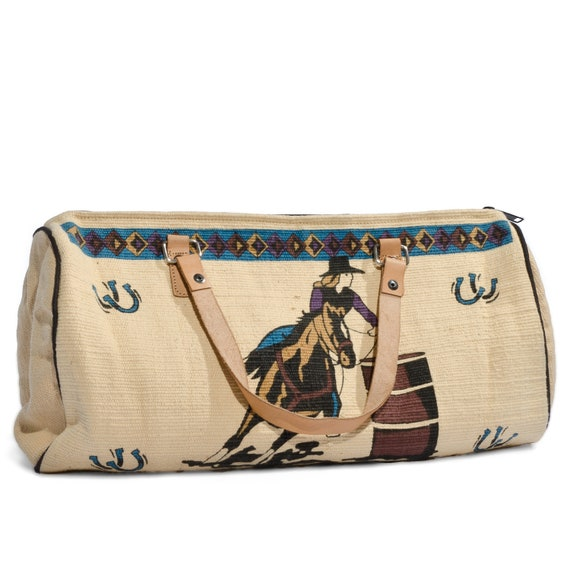 Vintage Mini Duffle Bag Woven Cotton Women's Rodeo Scene by Gaitan Handbags
