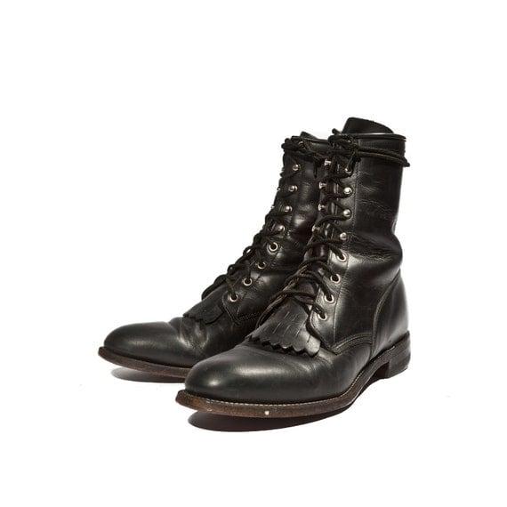 Mens Black Justin Boots Men's Justin Roper Boot in