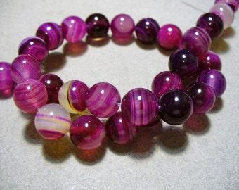 Agate Beads Gemstone Fuchsia Round 10mm