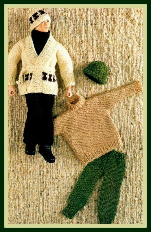 PDF Knitting Pattern for Action Man Ken Etc Casual Clothes