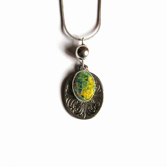 Felt Pendant Necklace  Lemon