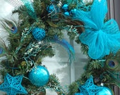 Non-Traditional Custom Holiday Wreaths, blue, pink, green cheerful Christmas wreaths