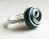 Black Onyx Ring:  Silver Wire Wrapped Jewelry, Large Stone Modern Swirl Statement, Size 7, Custom Size