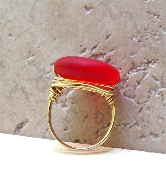 Orange Sea Glass Ring:  Summer Beach Jewelry, Brass Wire Wrapped, Tangerine Tango, Size 7