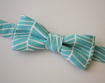 Bowtie Boys Ages 2-10 in Turquoise and White Herringbone