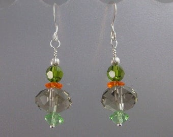 Sparkling Swarovski crystal and sterling silver earrings