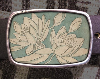 White Flowers Belt Buckle, Nature Belt Buckle 730