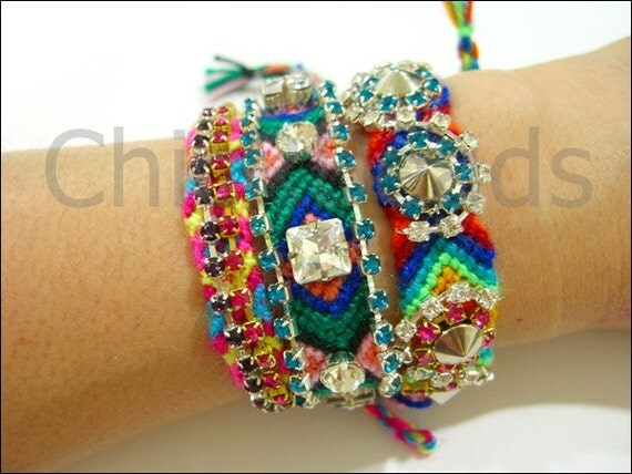 Swarovski Crystal Rhinestone Chain Friendship Bracelet Handmade Blue Green Clear