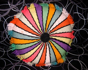 Vintage Groovy Knit & Corduroy Pillow. 1970's.  Mod, Mid century modern, Danish Modern, Eames Panton era. Faded Rainbow.