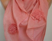 Tea Rose Scarf - Cotton Scarf Shawl - Cowl Scarf - fatwoman