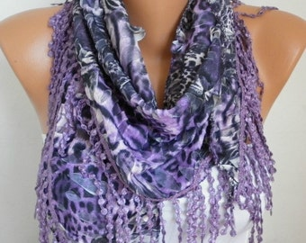 ON SALE - Purple Leopard Scarf Summer Scarf Animal Scarf,Cowl Scarf with Lace Edge Gift Ideas For Women Fashion Accessories - fatwoman