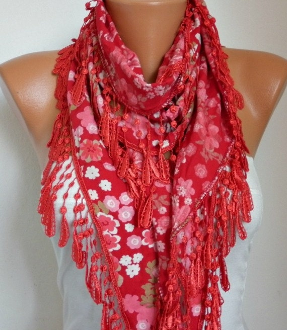 ON SALE -Valentine's Day Red  Scarf  - Cotton  Scarf - Cowl Scarf  with Lace Edge   - fatwoman
