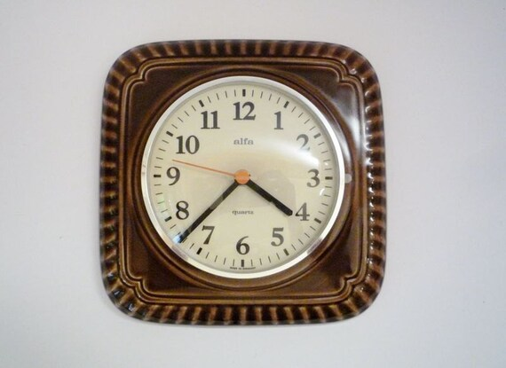 RESERVED - Vintage German Ceramic Wall Clock from Alfa
