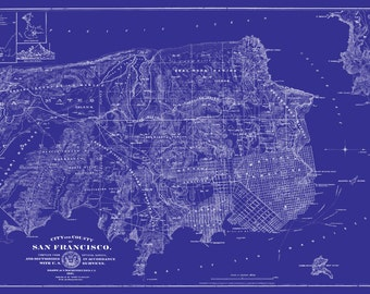 San Francisco Msp - Street Map Vintage Blueprint Print Poster