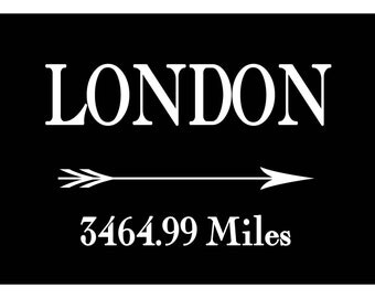 Custom Mileage Print Anywhere to London Print Poster