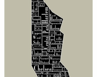 New York City Map Manhattan Neighborhood Map New York Black Print Poster