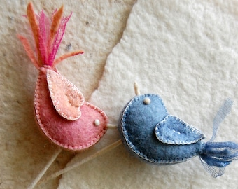 Felt Love Birds Pink Blue Pure Wool and Silk -- Felt Bird Ornaments for Wedding Gift, Cake Topper, Bridal Bouquet