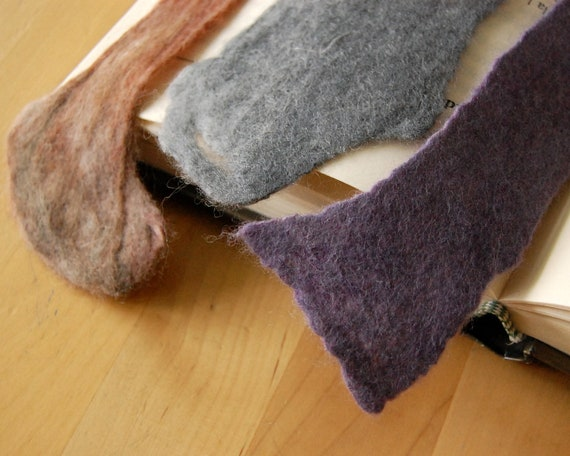 Felted BOOKMARKS Set of Three Handmade Pure Wool and Silk Grey, Lilac and Brown-- Ideal Birthday Gift for Readers