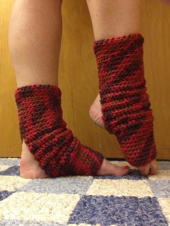 Yoga Socks in ORGANIC Berry Red Cotton -- for Yoga, Dance, Pilates, Pedicures
