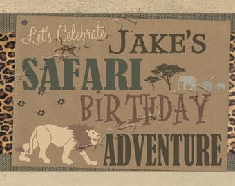 Safari Party Sign - INSTANT DOWNLOAD - Editable & Printable Birthday Decorations by Sassaby