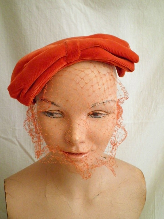 RESERVED 1950s Vintage Bittersweet Orange Velvet Calot Hat