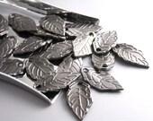 CHARM-GUNMETAL-LEAF-16MM - 20 pcs Gunmetal Mini Leaf Charms