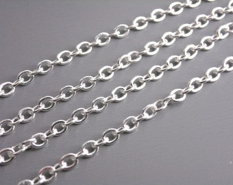 CHAIN-SILVER-3.5MMx2.5MM - Grade A 10-Foot 3.5mm x 2.5mm Silver Plated Brass Chain
