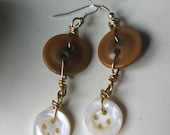 Eco Friendly Repurposed Vintage Button Earrings