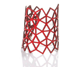 Iskin Mila Bracelet - Leather - Geometric design - Laser cut Leather - Cuff - Contemporary Jewelry