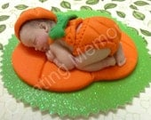 My Favor Time - Fondant Pumpkin Baby Cake Topper  made of vanilla dondant - edible decorations, baby shower, first birthday and more