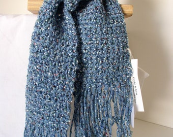 Country Blue Scarf with Fringe - 236