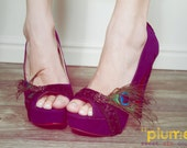 Plume Faux Suede Plum High Heels with Peacock Accent