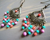 Mint Green Coral Pink Chandelier Earrings, Cyber Monday, Gypsy Jewelry, Boho Jewelry, Colorful Jewelry