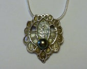 Handcrafted Fine Silver (PMC) Pendant with Natural Freshwater Pearl