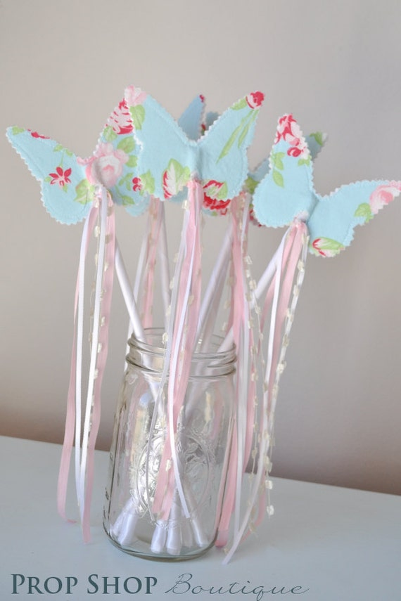 Girls Butterfly Wand, Birthday, Party Favor, Dress up, Photo Prop