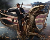 Ronald Reagan Riding a Velociraptor HQ