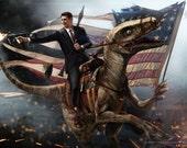 Ronald Reagan Riding a Velociraptor HQ 24x36 EPIC SIZE