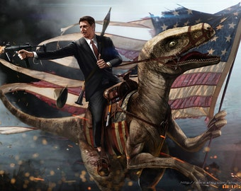 Ronald Reagan Riding a Velociraptor HQ *various sizes available*