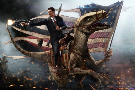 "Ronald Reagan Riding a Velociraptor EPIC SIZE 24x36"" Poster"