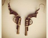 Gunz A Blaze'n-Bronze Gun Earrings, HIPSTER, Stars and Skulls