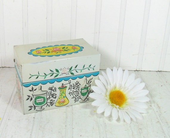Herb Litho Metal Recipe Box - Vintage J Chen and Co - Mid Century File Organizer