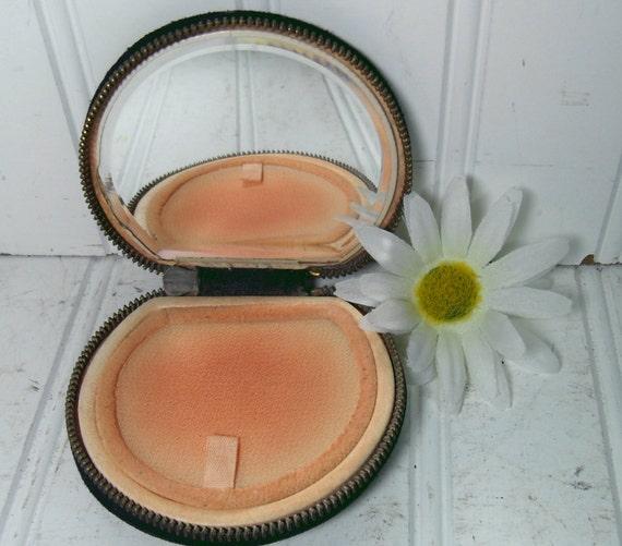 Black Suede & Brass Compact Case - Vintage Vanity Accessory - Original Beveled Mirror