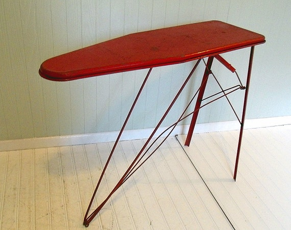 Vintage Child Size Red Metal Ironing Board Retro By
